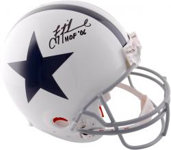 Troy Aikman Dallas Cowboys Autographed Riddell Pro-Line Authentic Throwback Helmet with HOF 06 Inscription - Mounted Memories