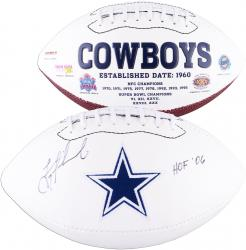 Troy Aikman Dallas Cowboys Autographed White Panel Football with HOF 06 Inscription - Mounted Memories