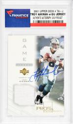 Troy Aikman Dallas Cowboys Autographed 2001 Upper Deck #TA-J Card  - Mounted Memories  - Mounted Memories