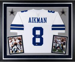 Deluxe Framed Troy Aikman Autographed Jersey - HOF 06