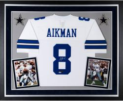 Deluxe Framed Troy Aikman Autographed Jersey - HOF 06