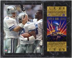 Dallas Cowboys Super Bowl XXVII Troy Aikman/Michael Irvin/Emmitt Smith Plaque with Replica Ticket - Mounted Memories