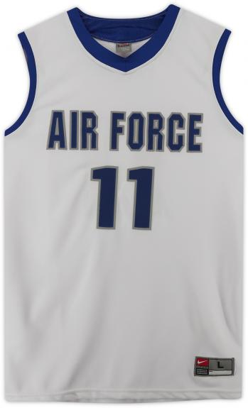 Air Force Falcons Team-Issued #11 White Jersey with Blue Collar from the Basketball Program - Size L