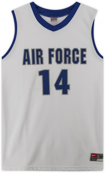 Air Force Falcons Team-Issued #14 White Jersey with Blue Collar from the Basketball Program - Size XL