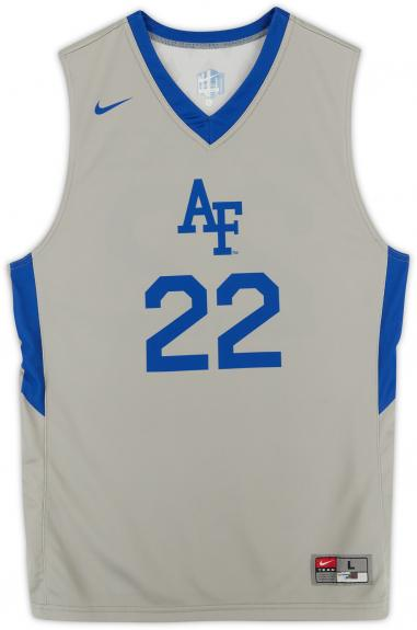 Air Force Falcons Team-Issued #22 Gray Jersey with Blue Collar from the Basketball Program - Size L