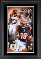 A.J. Green Cincinnati Bengals 10'' x 18'' Vertical Framed Photograph with Piece of Game-Used Football - Limited Edition of 250