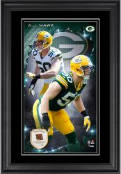 A.J. Hawk Green Bay Packers 10'' x 18'' Vertical Framed Photograph with Piece of Game-Used Football - Limited Edition of 250