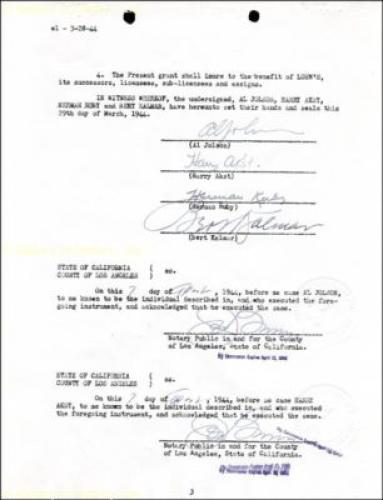 Al Jolson - Contract Signed