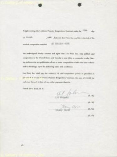 Al Jolson - Document Signed