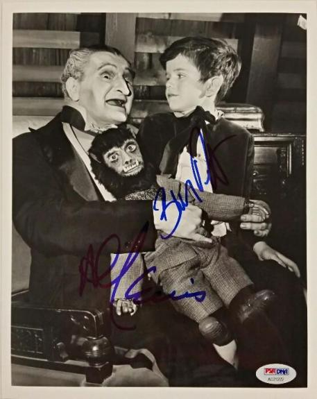 "AL LEWIS ""Grandpa"" + BUTCH PATRICK ""Eddie"" Signed 8x10 Photo The Munsters PSADNA"