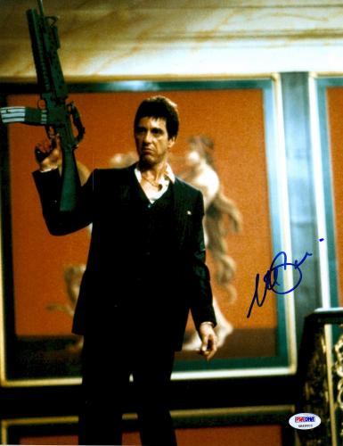 """Al Pacino Autographed 11"""" x 14"""" Scarface Holding Gun In Air Wearing Black Suit Photograph - PSA/DNA COA"""