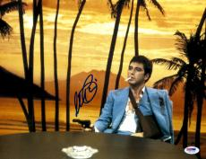 "Al Pacino Autographed 11"" x 14"" Scarface Sitting Pointing Gun Smoking Cigarette Photograph - PSA/DNA COA"