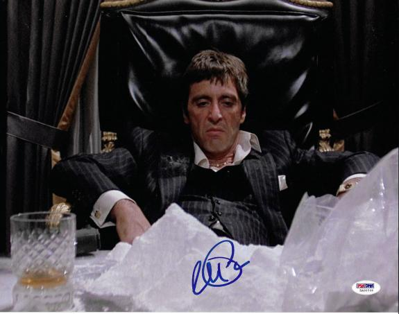 Al Pacino Autographed 11x14 Scarface Photo Tony Montana Cocaine Pile - PSA/DNA