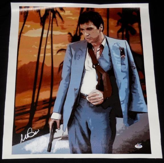 Al Pacino Autographed 18x22 Canvas Print (scarface) - Psa Dna!