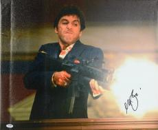 "Al Pacino Autographed 20""x 24"" Scarface Machine Gun Stretched Canvas - BAS COA"