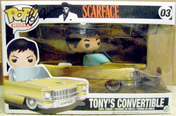 Al Pacino autographed Tony Montana Scarface Funko Pop Toy Figure in car on Box