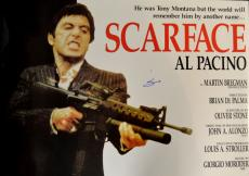 Al Pacino Autographed With Gun Scarface Poster Psa/Dna AFTAL