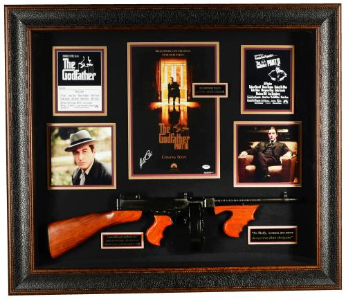 "Al Pacino Framed Autographed 38""x 43"" Godfather Trilogy Shadowbox - PSA/DNA LOA"