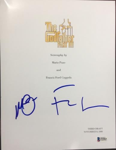 "Al Pacino & Francis Ford Coppola Signed Autograph ""godfather 3"" Script Beckett"
