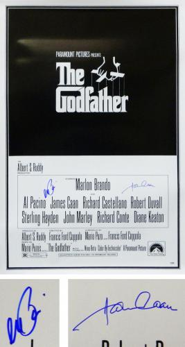 Al Pacino & James Caan Dual Signed The Godfather 24x36 Full Size Movie Poster