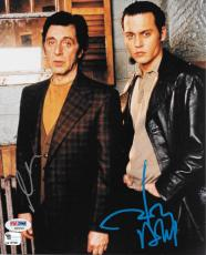 Al Pacino Johnny Depp Dual Signed Donnie Brasco 8x10 Photo Psa/dna Coa Ab04565