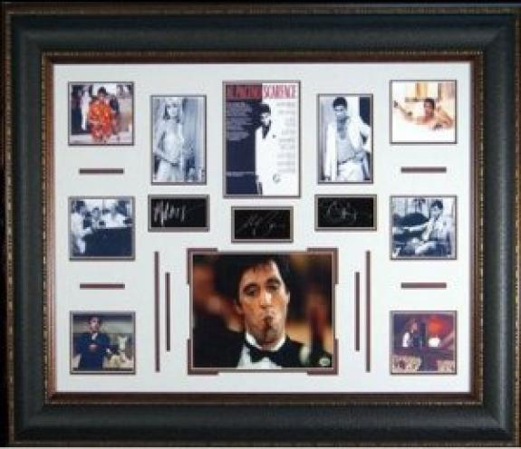 Al Pacino Scarface 27x39 Engraved Signature Series Leather Framing Multi Photos - Michelle Pfeiffer