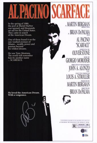 """Al Pacino Scarface Autographed 12"""" x 18"""" Movie Poster - BAS"""