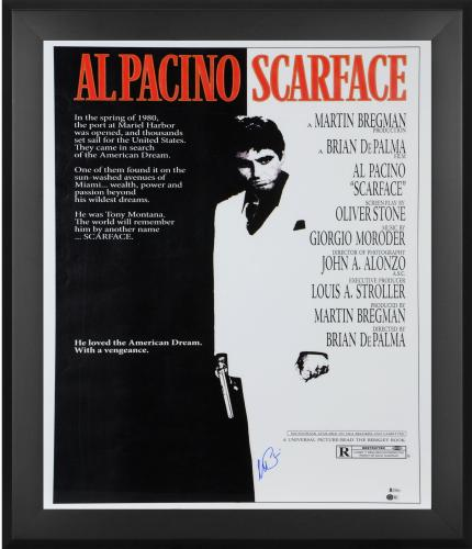 "Al Pacino Scarface Framed Autographed 27"" x 40"" Full Sized Movie Poster - BAS"