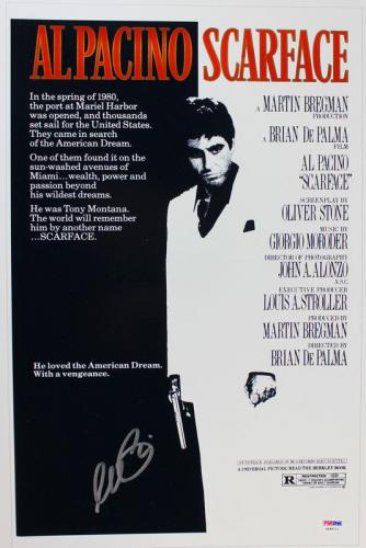Al Pacino Scarface Signed 12X18 Mini Poster Auto Graded Gem 10! PSA/DNA #4A98711