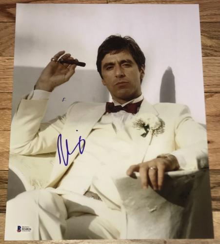 Al Pacino Signed Autograph Classic White Suit Scarface 11x14 Photo Bas Beckett