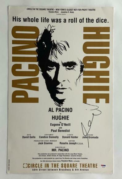 Al Pacino Signed Autograph Hughie Window Card, Poster - Broadway, Scarface Psa