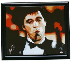 Al Pacino Signed Framed 22x25 Scarface The Bad Guy Canvas PSA 7A44872
