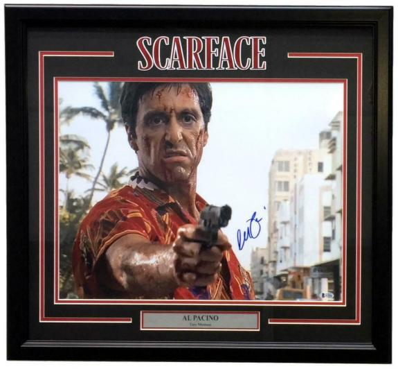 Al Pacino Signed Framed 16x20 Scarface Pointing Gun Photo Beckett BAS
