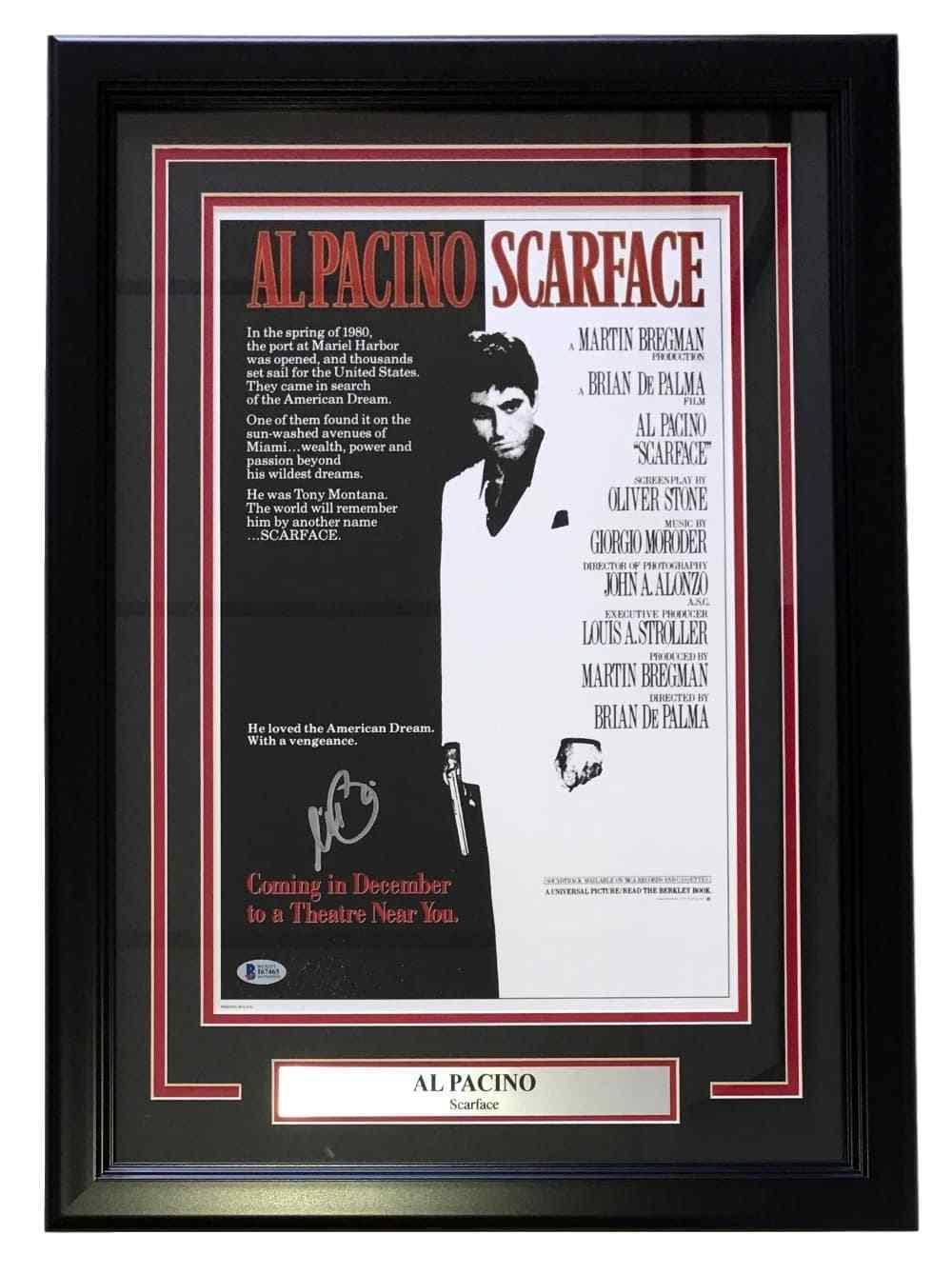 al pacino signed framed scarface tony montana 17x24 movie