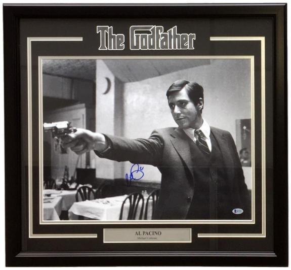 Al Pacino Signed Framed 16x20 The Godfather Gun Point Photo Beckett BAS