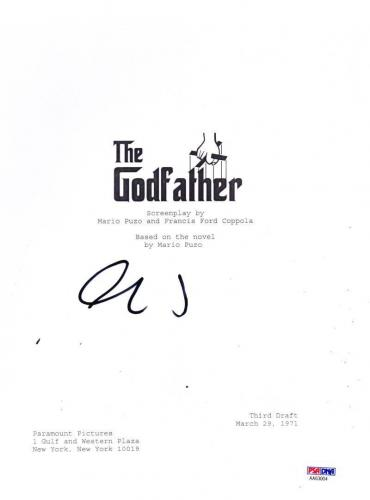 Al Pacino Signed Godfather Script Authenitc Autograph Proof Psa Coa
