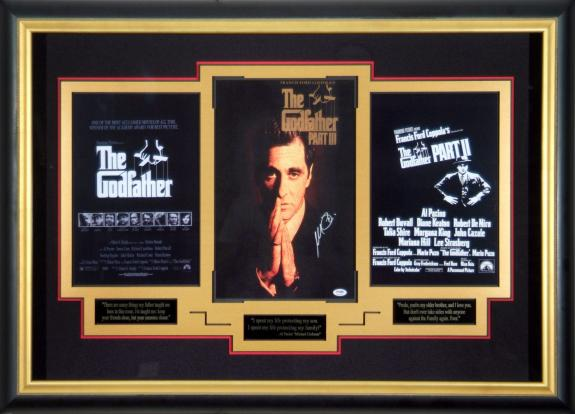 Al Pacino Signed Godfather Trilogy Poster Collection Framed