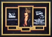 Showcasing posters of the Godfather movies and picture of Al Pacino