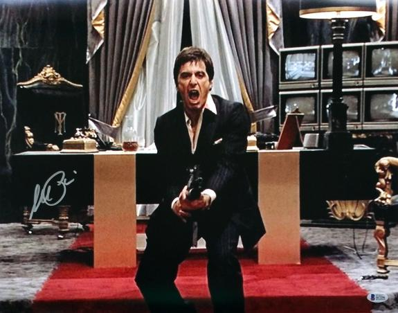 Al Pacino Signed Scarface 16x20 Say Hello To My Little Friend Photo BAS