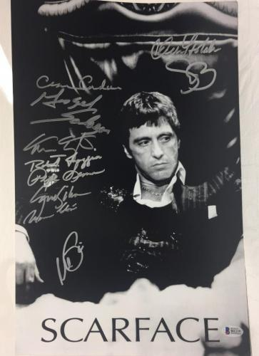 Al Pacino signed Scarface Cast Signed 11x17 Photo w/10 Sigs Beckett Letter
