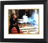 Al Pacino signed Scarface Tony Montana 11X14 Photo Custom Framed- Beckett Holo #D48981 (Horizontal w/Gun full sig)
