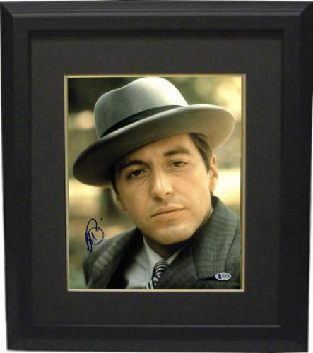 Al Pacino signed The Godfather Michael Corleone 11X14 Photo Custom Framed- Beckett Holo #D48792 (Vertical Close up w/Hat full si