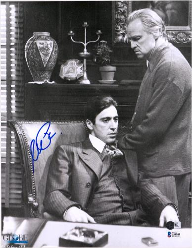 "Al Pacino The Godfather Autographed 11"" x 14"" with Marlon Brando Photograph - BAS"
