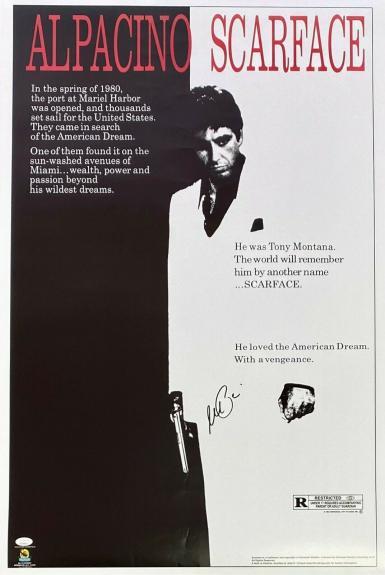 Al Pacino Tony Montana Signed Autographed Scarface Movie Poster 24x36 JSA V