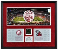 Alabama Crimson Tide Back to Back BCS National Champions Framed Mini Panoramic Collage with Game-Used Turf