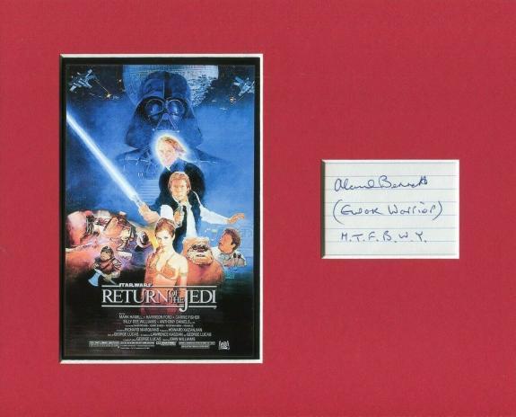 Alan Bennett Star Wars Return of the Jedi Ewok Signed Autograph Photo Display