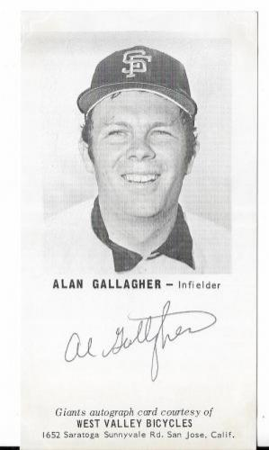 Alan Gallagher San Francisco Giants Signed Auto Vintage 2x5 Photo Card W/coa