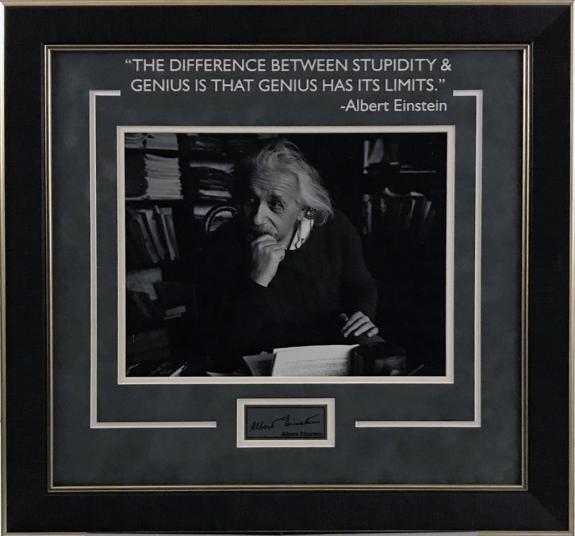 Albert Einstein Framed Photo w/ Laser Signature