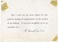 Albert Einstein Signed Autographed 1952 Birthday Card Beckett BAS Authentic