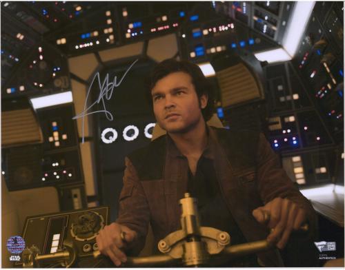 "Alden Ehrenreich Star Wars Solo Autographed 11"" x 14"" in Millennium Falcon Photograph - Alden Hologram"